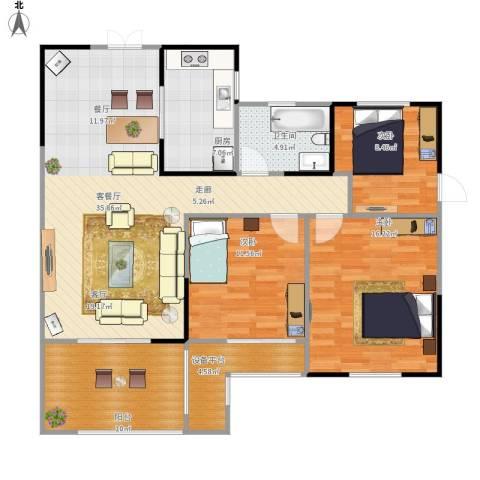 天顺御河湾3室1厅1卫1厨132.00㎡户型图