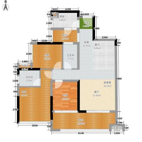 金地湖山大境3室0厅2卫1厨103.00㎡户型图