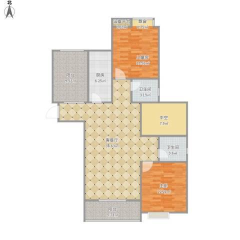 山水华庭2室1厅2卫1厨134.00㎡户型图