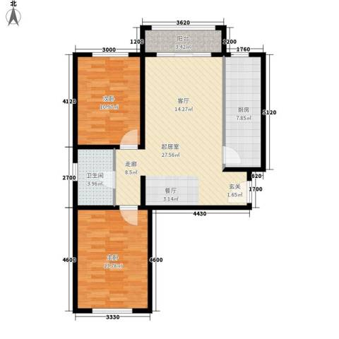 祺泰新居2室0厅1卫1厨96.00㎡户型图