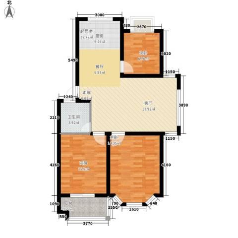 广天青城雅居3室0厅1卫0厨89.00㎡户型图