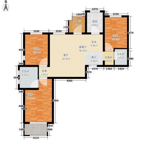花香漫城3室1厅2卫1厨151.00㎡户型图