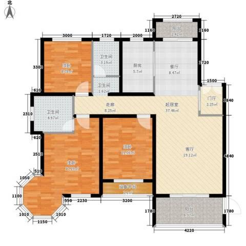 新公馆3室0厅2卫1厨144.00㎡户型图