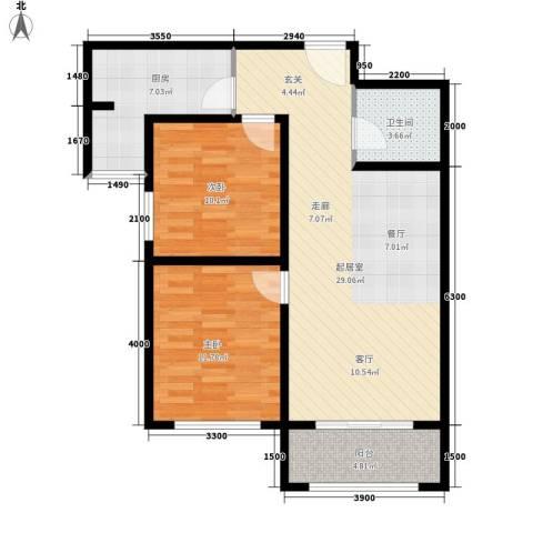 祺泰新居2室0厅1卫1厨95.00㎡户型图