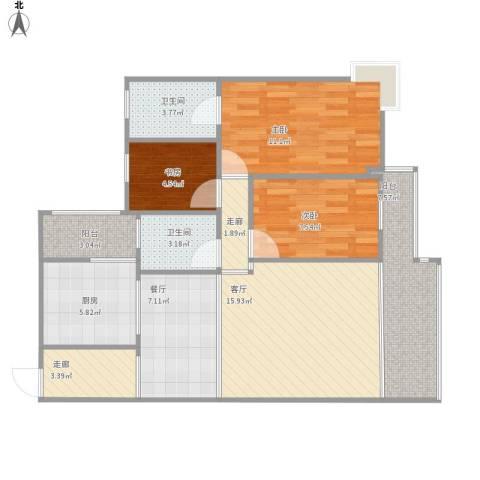 时代锋尚3室2厅2卫1厨103.00㎡户型图