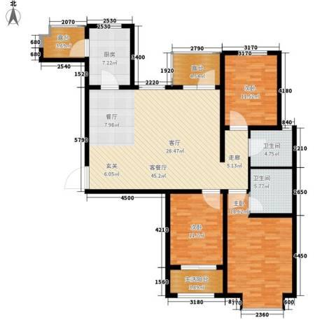花香漫城3室1厅2卫1厨165.00㎡户型图