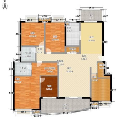 岳麓1号5室0厅3卫1厨222.00㎡户型图