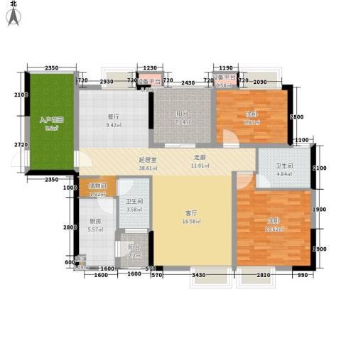 都市兰亭2室0厅2卫1厨118.00㎡户型图