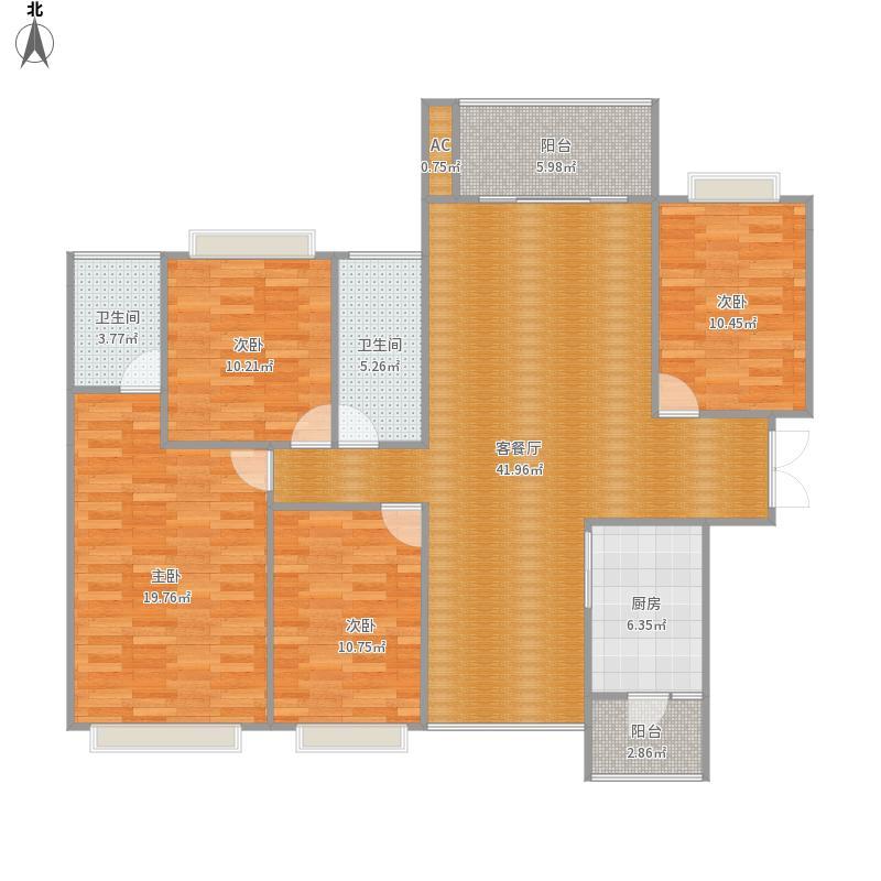 西荟城127平A1户型四室两厅两卫