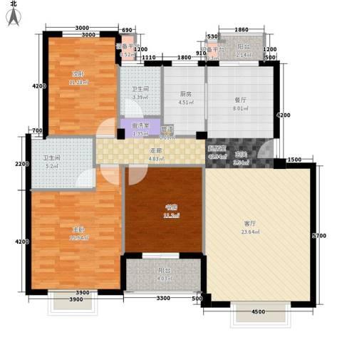 七里晴川3室0厅2卫1厨120.00㎡户型图