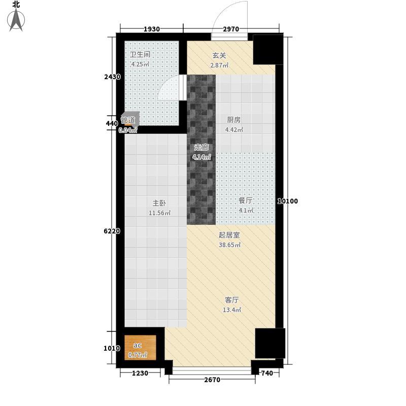 国瑞城50.11㎡A-2户型1室1厅