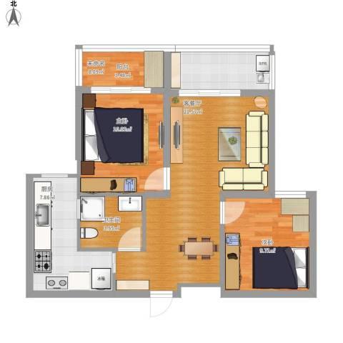 名豪天台苑2室1厅1卫1厨88.00㎡户型图