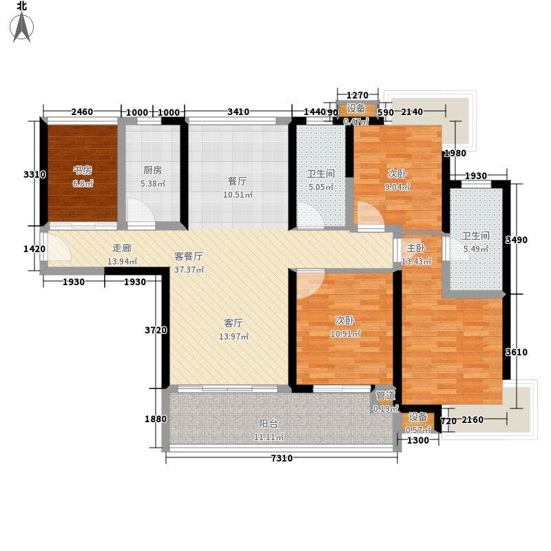 瑞都水郡123.00㎡【】F户型4室2厅