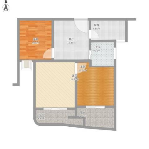 昆山颐景园2室2厅1卫1厨91.00㎡户型图