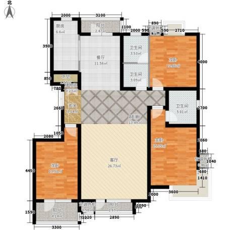 湖畔佳苑3室1厅3卫1厨163.00㎡户型图