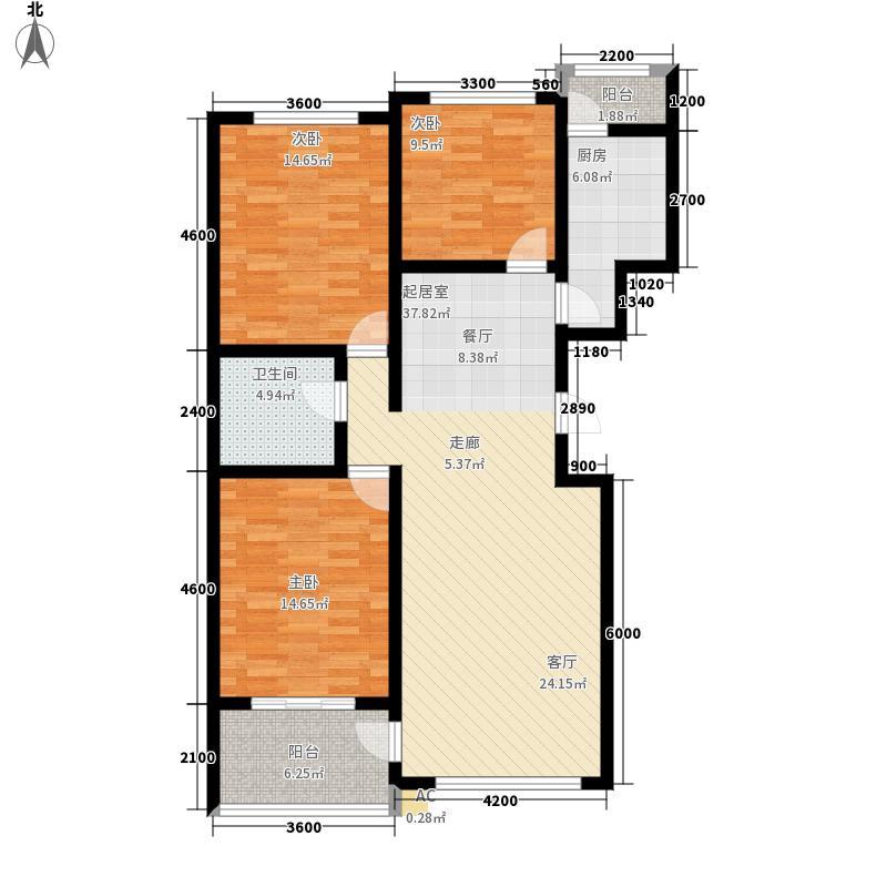 北方尚品户型图k三室两厅一卫 约132.07平方米(4/6张)
