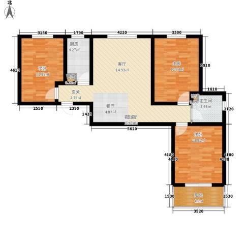 柠檬郡3室1厅1卫1厨113.00㎡户型图