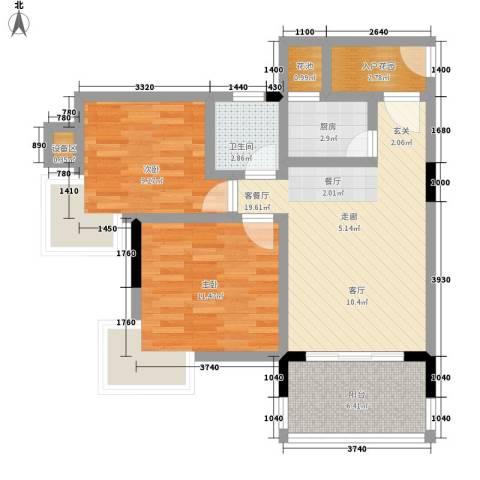 衍宏美丽春天4期2室1厅1卫1厨84.00㎡户型图