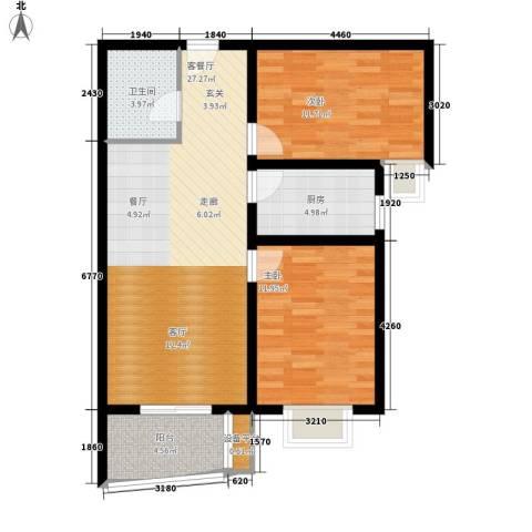 华林国际2室1厅1卫1厨91.00㎡户型图