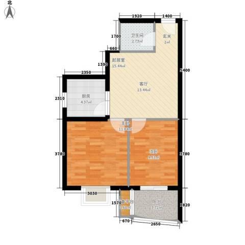 华林国际2室0厅1卫1厨68.00㎡户型图