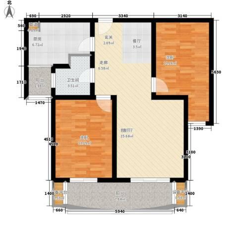 华林国际2室1厅1卫1厨103.00㎡户型图