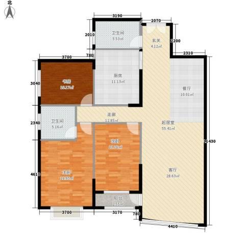 青洲豪庭3室0厅2卫1厨132.00㎡户型图