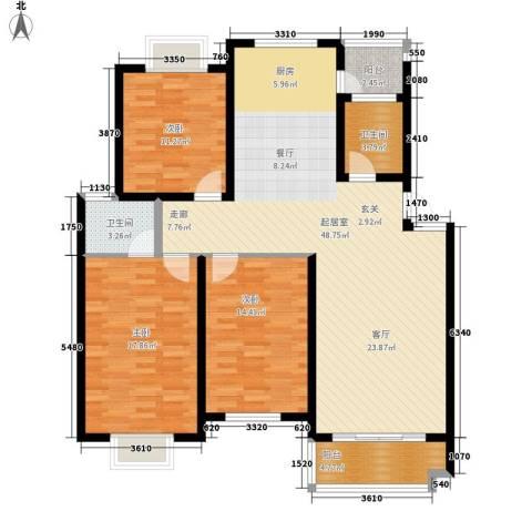 广天青城雅居3室0厅2卫0厨126.00㎡户型图