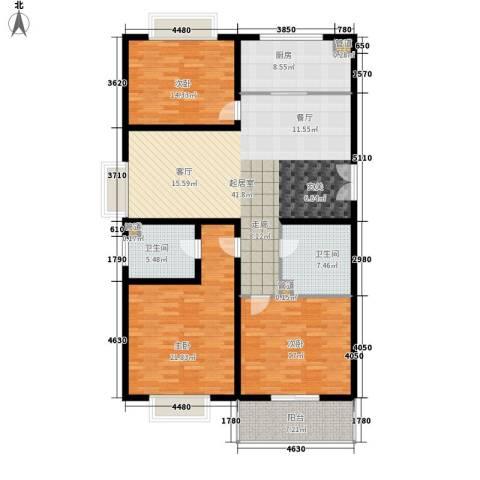 东里花苑3室0厅2卫1厨124.26㎡户型图