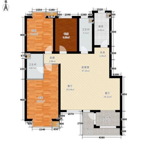 嘉实蓝岸3室0厅2卫1厨140.00㎡户型图