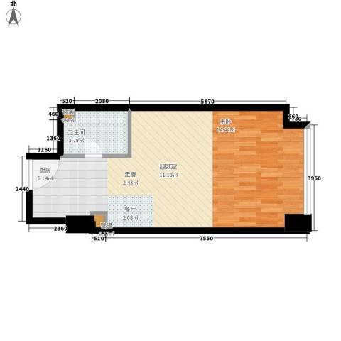 橙悦城1卫0厨45.00㎡户型图