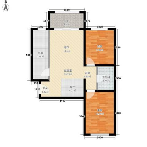 祺泰新居2室0厅1卫1厨86.00㎡户型图
