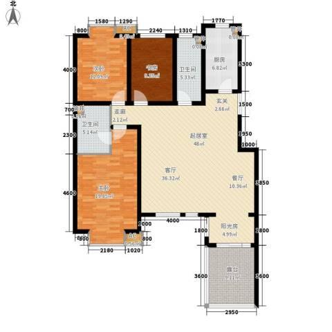 嘉实蓝岸3室0厅2卫1厨136.00㎡户型图