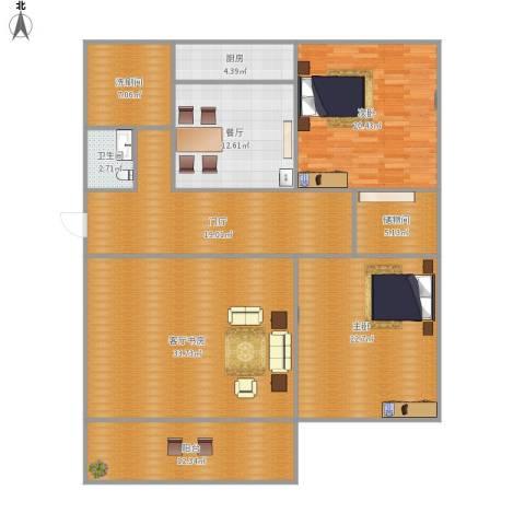 信义庄2室1厅1卫1厨187.00㎡户型图