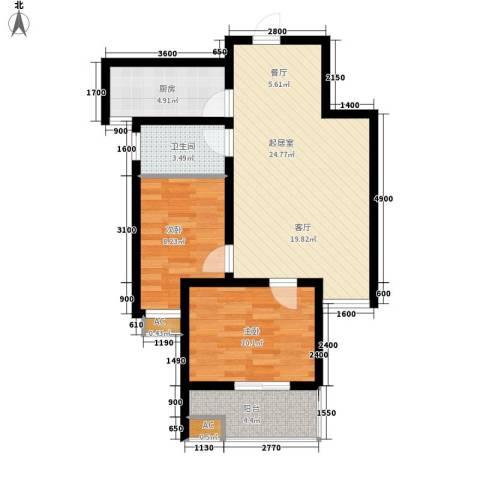 嘉实蓝岸2室0厅1卫1厨79.00㎡户型图