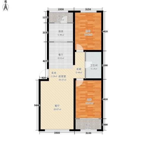 祺泰新居2室0厅1卫1厨108.00㎡户型图