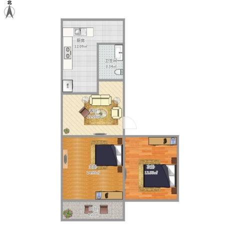 信义庄2室1厅1卫1厨79.00㎡户型图