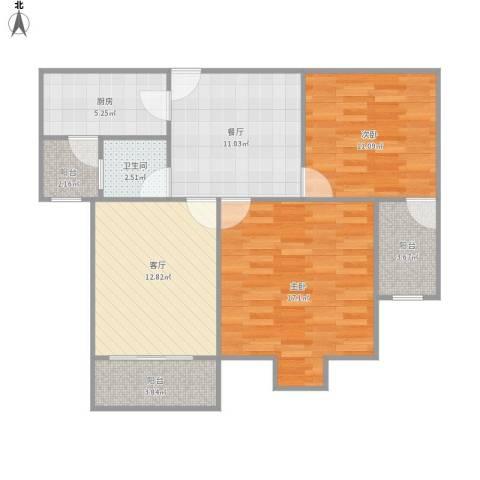 上海三湘海尚2室2厅1卫1厨94.00㎡户型图