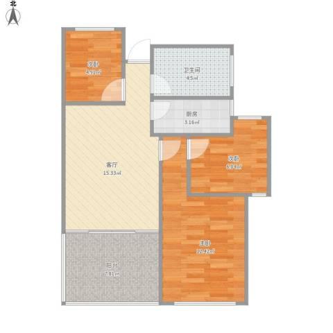 新城香溢紫郡3室1厅1卫1厨74.00㎡户型图