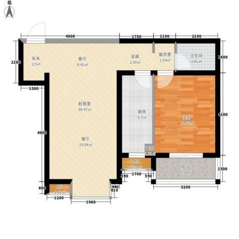 嘉实蓝岸1室0厅1卫1厨75.00㎡户型图