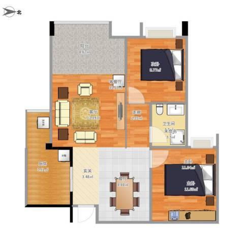 美洲花园加州阳光2室1厅1卫1厨88.00㎡户型图