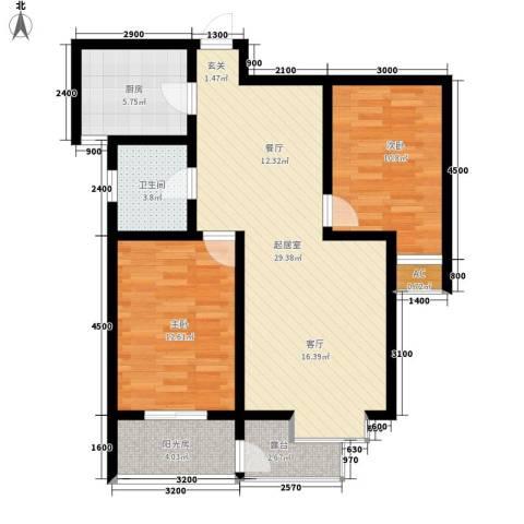 嘉实蓝岸2室0厅1卫1厨95.00㎡户型图