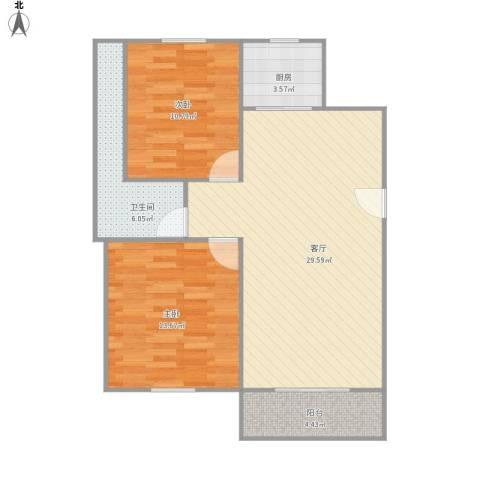 450824淞泽家园四区2室1厅1卫1厨91.00㎡户型图