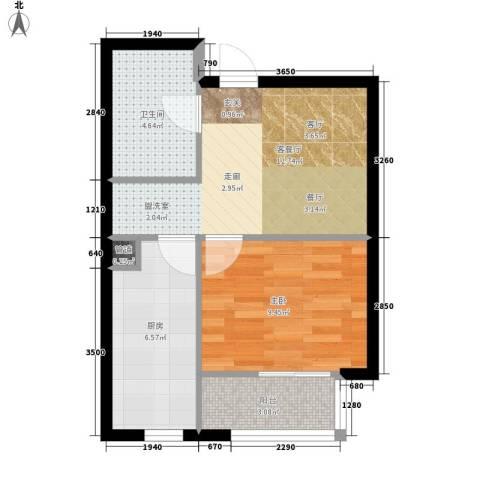红人公馆1室1厅1卫1厨42.00㎡户型图