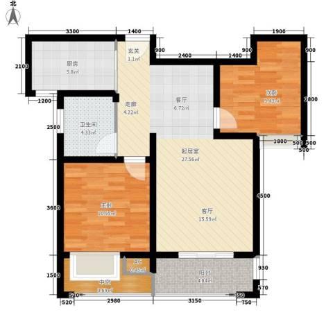 江佑铂庭2室0厅1卫1厨84.00㎡户型图