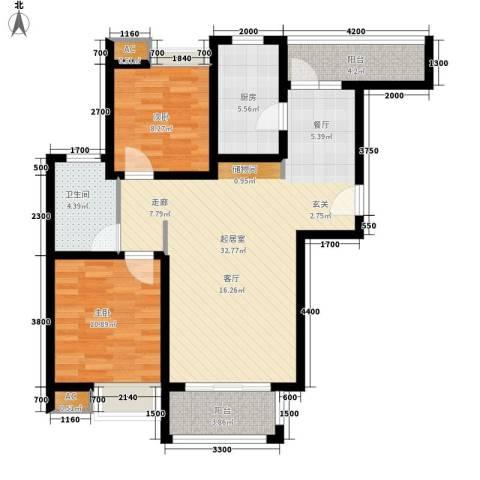 江佑铂庭2室0厅1卫1厨93.00㎡户型图