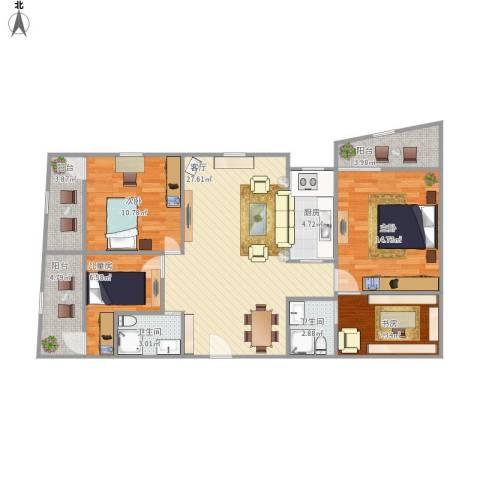 协诚中心大厦公寓4室1厅2卫1厨123.00㎡户型图