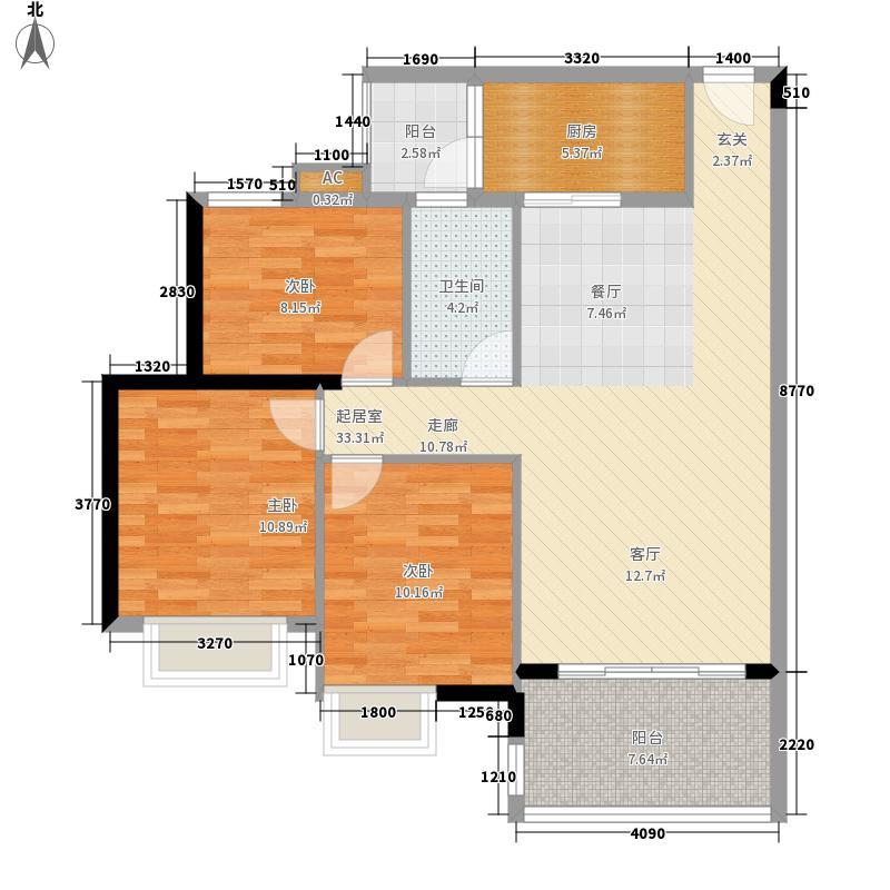 广州新塘新世界花园92.98㎡27栋1-6层03单元3室户型