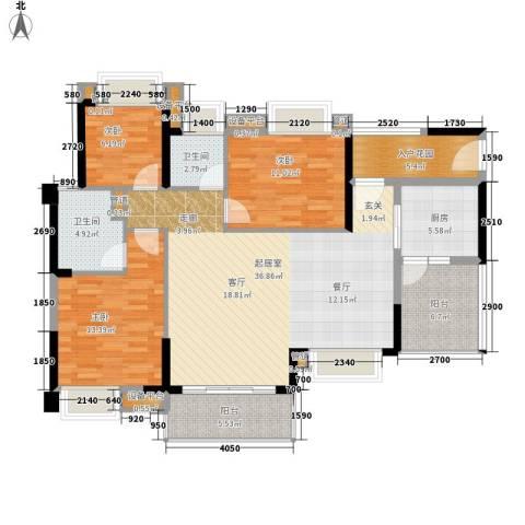 荔富湖畔3室0厅2卫1厨116.00㎡户型图
