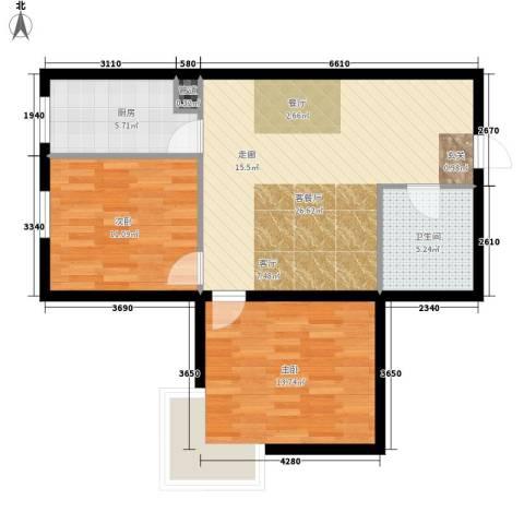 红人公馆2室1厅1卫1厨88.00㎡户型图