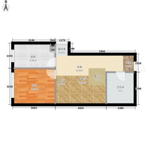 红人公馆1室1厅1卫1厨62.00㎡户型图